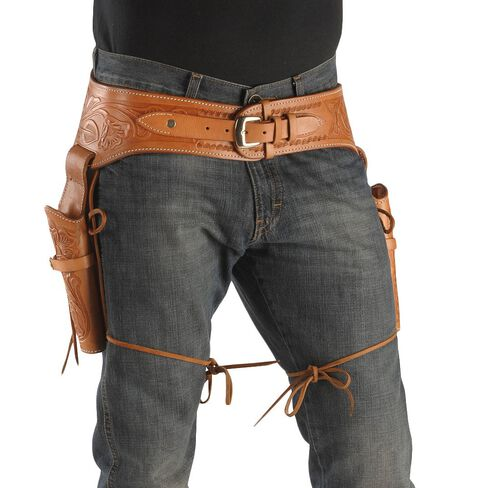 .45 Caliber Hand Tooled Leather Double-Gun Belt & Holster, Brown, hi-res