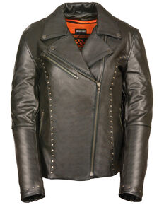 Milwaukee Leather Women's Classic Studded Motorcycle Leather Jacket - 4X, Black, hi-res