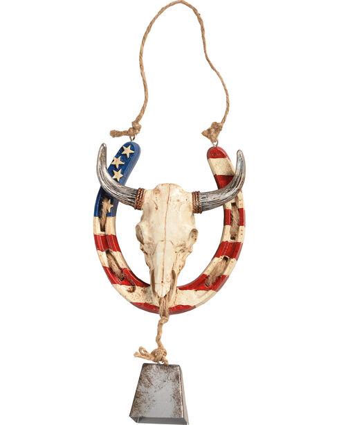BB Ranch Americana Horseshoe Steer Skull Wall Decor, Red/white/blue, hi-res