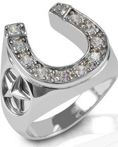 Kelly Herd Men's Engraved Stars Horseshoe Ring , Silver, hi-res