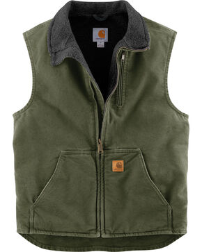 Carhartt Men's Sandstone Mock-Neck Vest , Moss Green, hi-res