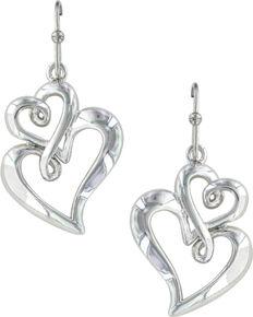Montana Silversmiths Women's Infinite Love Heart Earrings  , Silver, hi-res