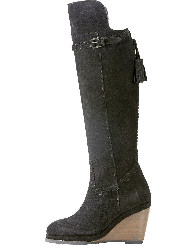 cheap black wedge boots