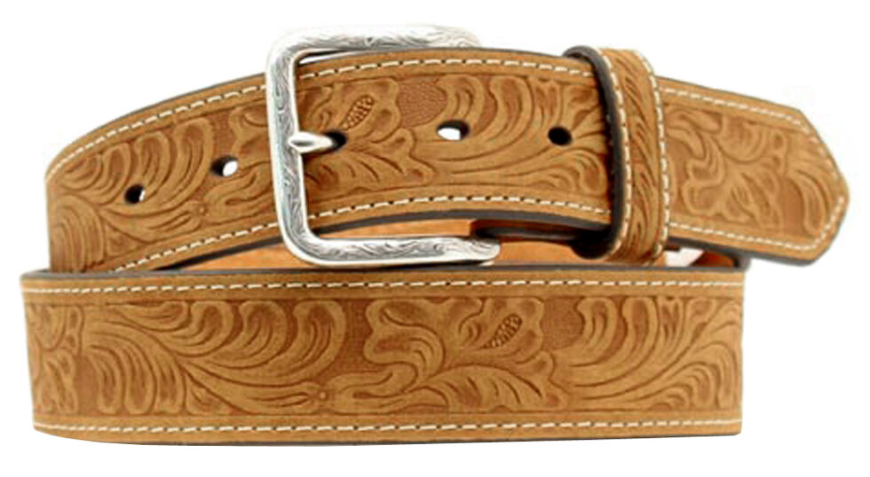 Double S Floral Embossed Leather Belt, Distressed, hi-res