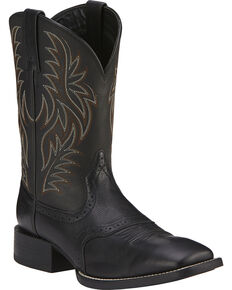 Ariat Sport Western Cowboy Boots - Wide Square Toe, Black, hi-res
