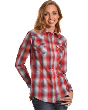Wrangler Women's Rust/Blue Plaid Long Sleeve Western Snap Shirt, Rust Copper, hi-res