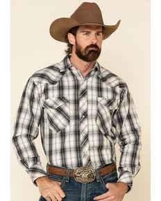Resistol Men's Grey Melville Large Plaid Long Sleeve Western Shirt , Grey, hi-res