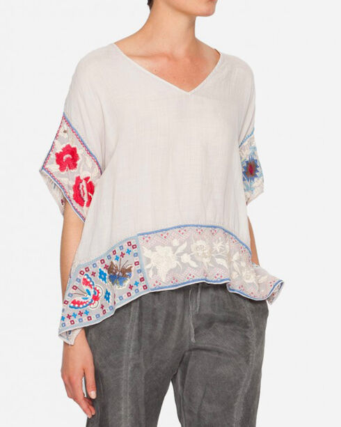 Johnny Was Women's Firenze V-Neck Patchwork Poncho , Sand, hi-res