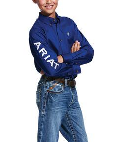 Ariat Boys' Blue Solid Twill Team Logo Long Sleeve Western Shirt , Burgundy, hi-res