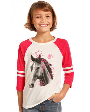 Rock & Roll Cowgirl Girls' Feather Stars Horse Graphic Tee, Hot Pink, hi-res