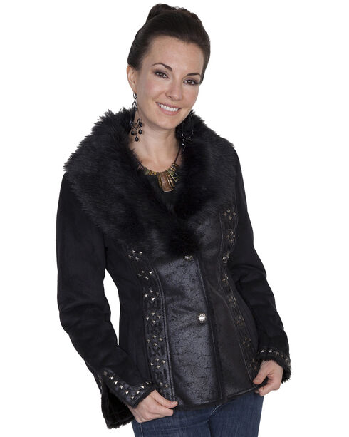 Scully Honey Creek Faux Suede and Faux Fur Jacket, Black, hi-res