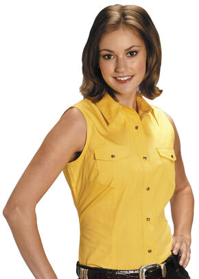 Roper Women's Stretch Poplin Sleeveless Shirt - Plus, Yellow, hi-res