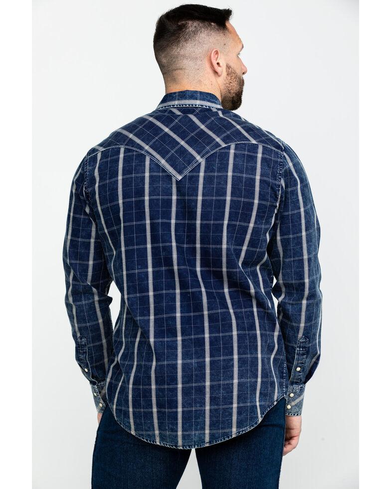 Rock & Roll Denim Men's Crinkle Plaid Long Sleeve Western Shirt , Blue, hi-res