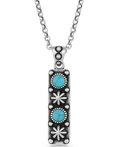 Montana Silversmiths Women's Starlight Starbrite Stone Turquoise Silver Necklace, Silver, hi-res