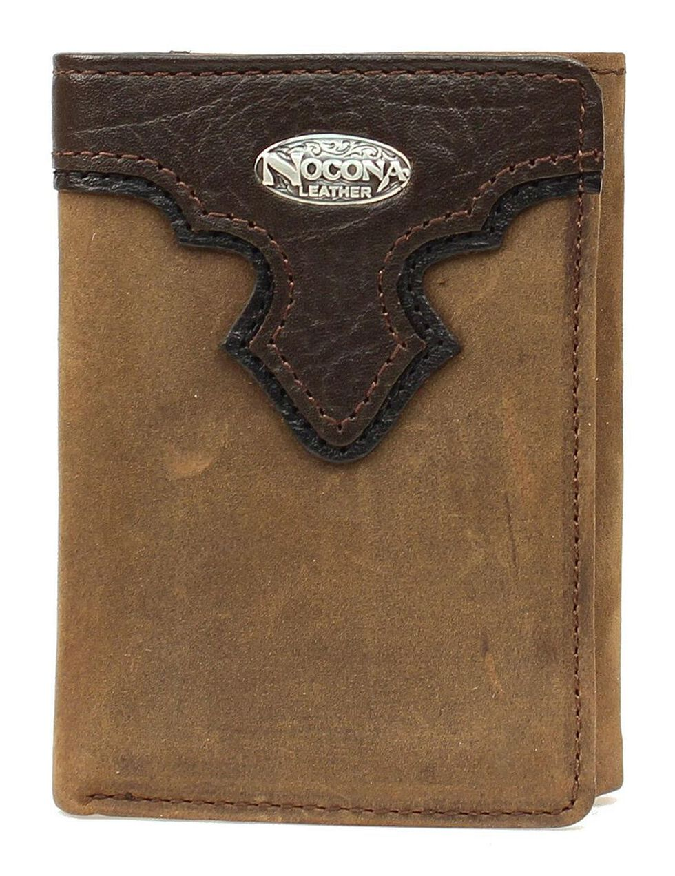 Nocona Distressed Concho Overlay Tri-Fold Wallet, Brown, hi-res