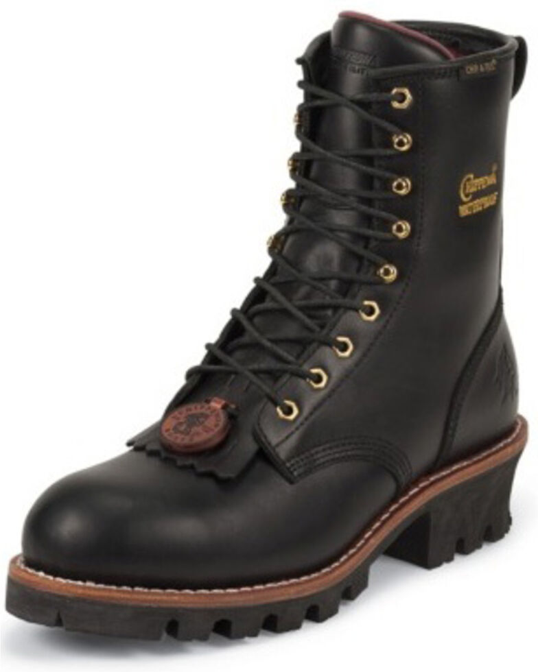 "Chippewa Waterproof & Insulated 8"" Logger Boots - Steel Toe, Black, hi-res"