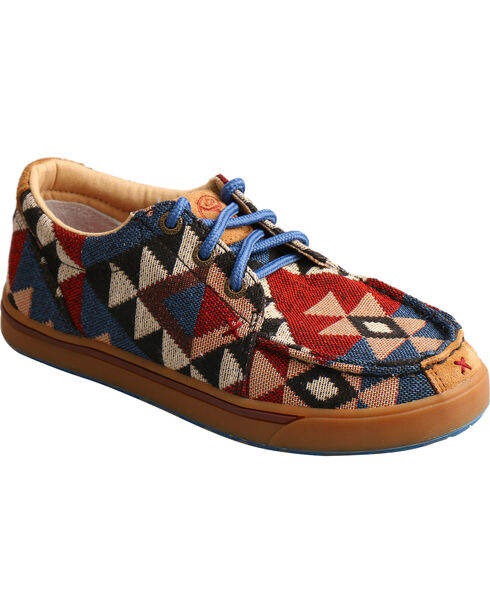 Hooey Lopers by Twisted X Youth Boys' Pattern Canvas Shoes - Moc Toe, Multi, hi-res