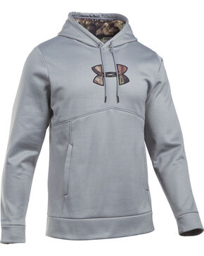 Under Armour Men's Grey With Real Tree Camo Hoodie, Heather Grey, hi-res