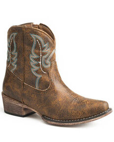 Roper Women's Cognac Vintage Western Booties - Snip Toe, Brown, hi-res