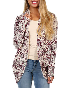 Shyanne Women's Paisley Printed Open Cardigan, Ivory, hi-res