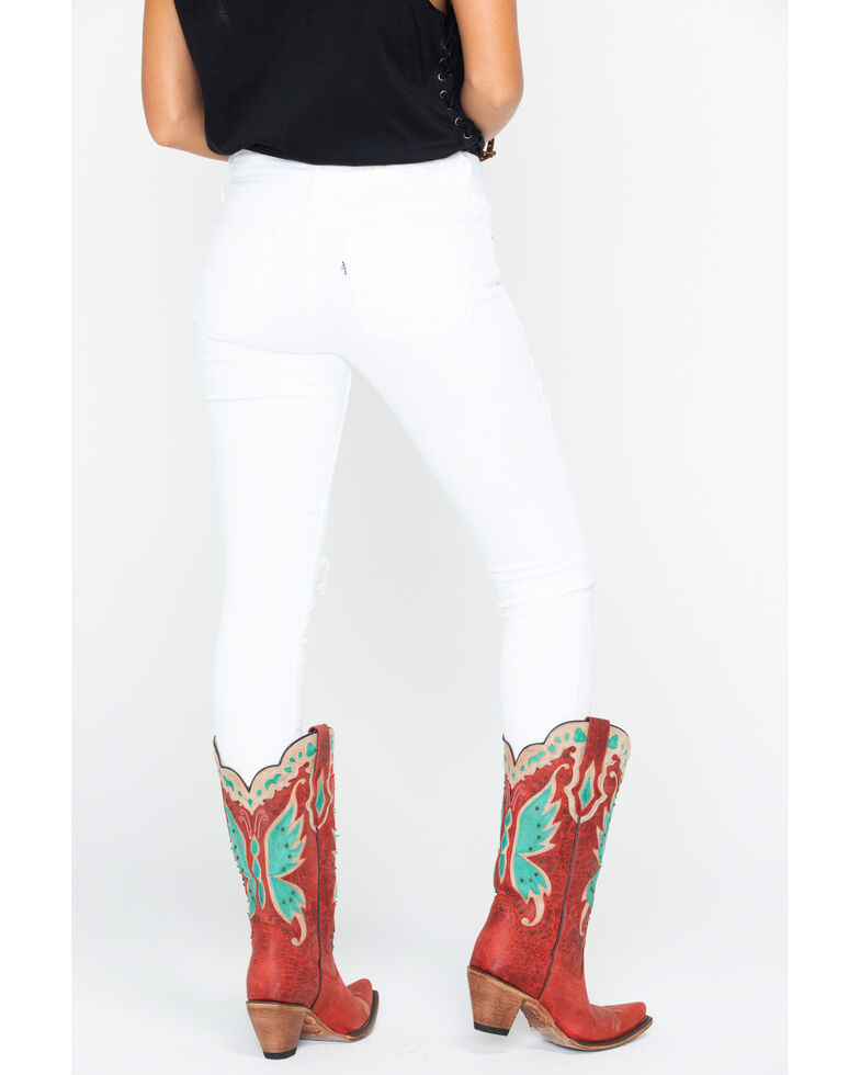 Levi's Women's White 711 Distressed Jeans - Skinny , White, hi-res