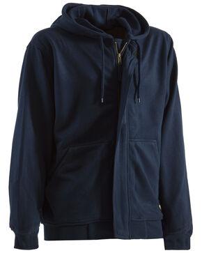 Berne Navy Flame Resistant Hooded Sweatshirt, Navy, hi-res