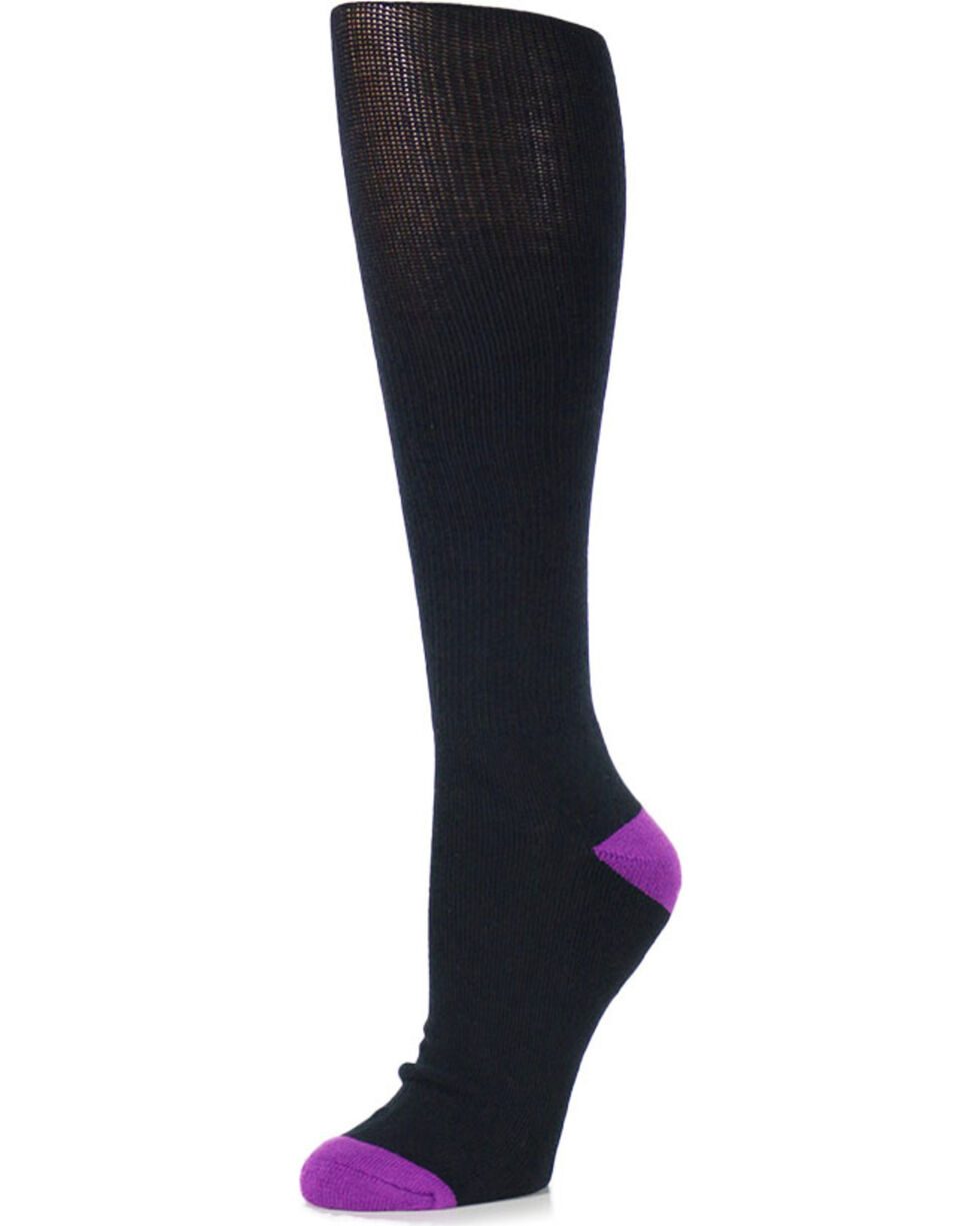 Shyanne Women's 3 Pair Support Crew Socks, Black, hi-res