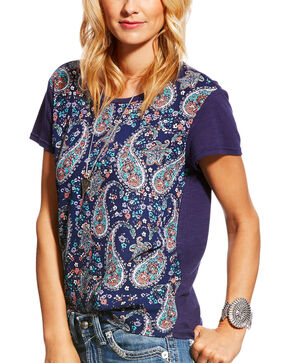 Ariat Women's Tonia Paisley Print Tee, Navy, hi-res