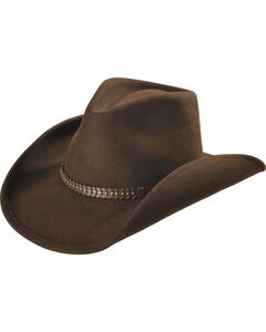 Scala Men's Wool Felt Studded Band Western Hat, Chocolate, hi-res