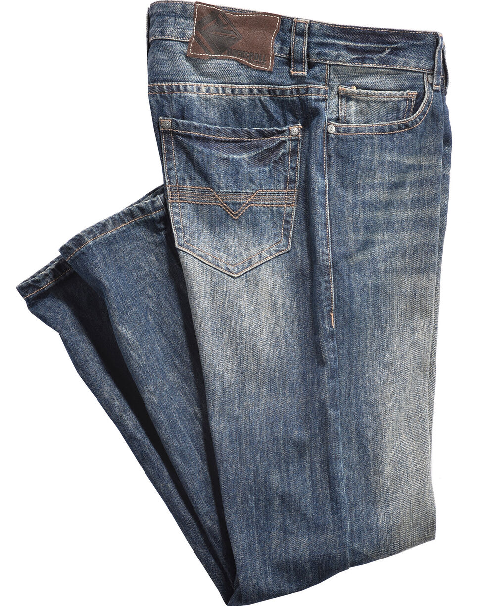 Rock & Roll Cowboy Men's Double Barrel Vintage Wash Jeans - Straight Leg, Blue, hi-res
