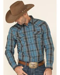 Cody James Men's Morning Fog Plaid Long Sleeve Western Shirt - Tall , Blue, hi-res