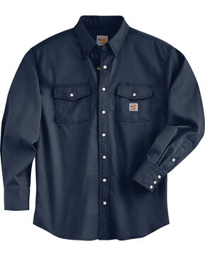 Carhartt Men's Flame Resistant Navy Snap Front Shirt, Navy, hi-res