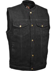 Milwaukee Leather Men's Snap Front Denim Club Style Vest w/ Gun Pocket, Black, hi-res