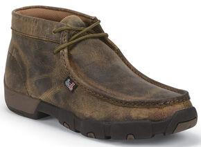 Justin Men's Waxy Dark Brown Driver Moc Shoes , Brown, hi-res