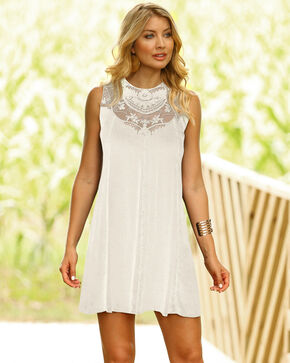 Wrangler Women's Ivory Lace Yoke Swing Dress , Ivory, hi-res