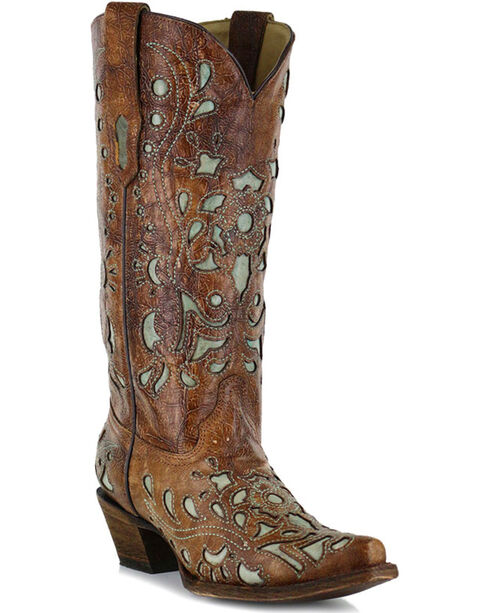 Corral Women's Turquoise Inlay Western Boots, Brown, hi-res