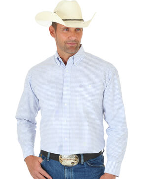 Wrangler George Strait Light Purple Plaid Button Down Shirt , White, hi-res