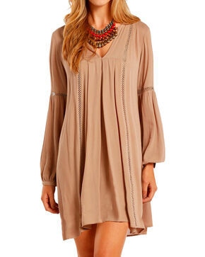 Rock & Roll Cowgirl Women's Tan Pleated Dress  , Tan, hi-res