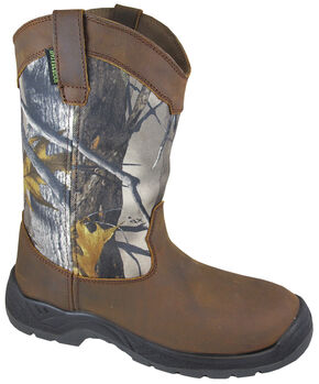 Smoky Mountain Men's Brushfield Camo Wellington Waterproof Work Boots - Steel Toe, Brown, hi-res