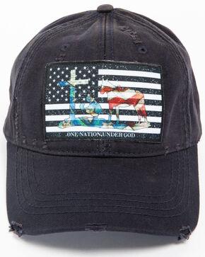 Cody James Men's Faith American Flag Distressed Ball Cap, Navy, hi-res