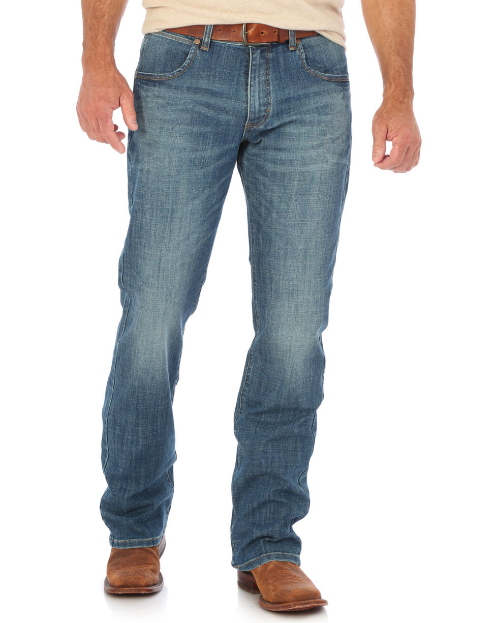 Wrangler Men's Blue Retro Relaxed Laughlin Jeans - Boot Cut , Medium Blue, hi-res