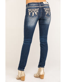 Miss Me Women's Medium Wash Mid-rise Feather Skinny Jeans, Blue, hi-res