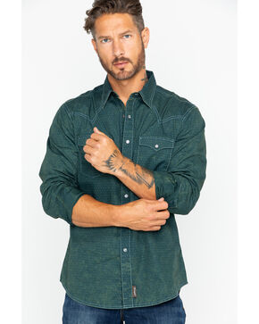 Wrangler Men's Retro Acid Wash Long Sleeve Western Shirt, Teal, hi-res