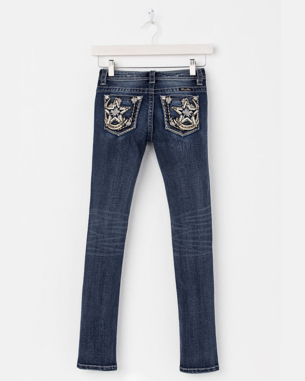 Miss Me Girls' Reach For The Stars Skinny Jeans - (7-14), Blue, hi-res