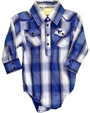 Cowboy Hardware Infant Boys' Blue Plaid Romper, Blue, hi-res