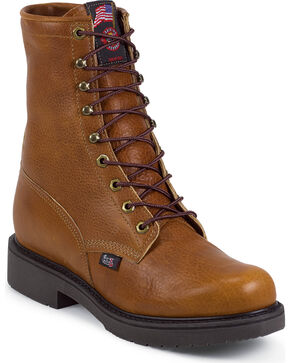 "Justin Men's Cargo 8"" Electrical Hazard Lace-Up Work Boots - Soft Toe, Copper, hi-res"