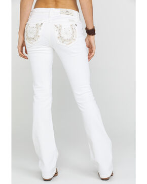 Miss Me Women's Horseshoe Bootcut Jeans, White, hi-res