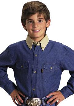 Roper Boys' Denim Twill Long Sleeve Western Shirt, Denim, hi-res