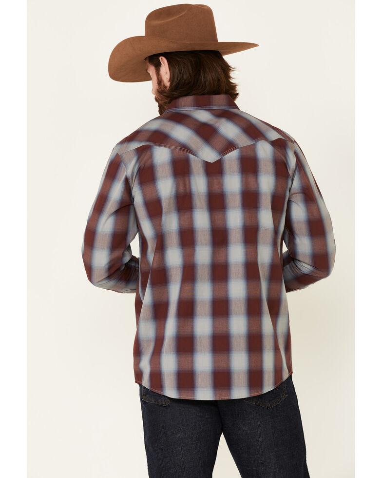 Moonshine Spirit Men's Sun Downer Large Plaid Long Sleeve Snap Western Shirt , Blue/red, hi-res