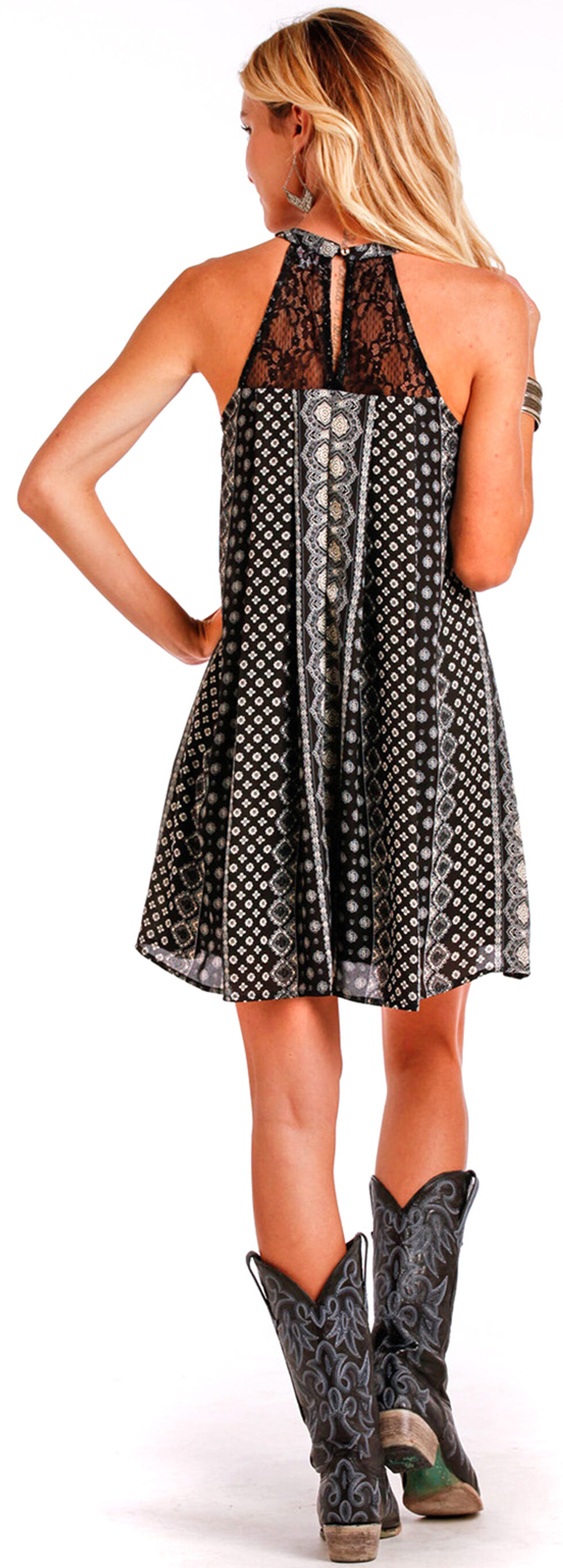 Panhandle Slim Women's Black Print Halter Dress, , hi-res